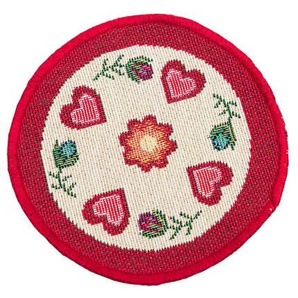 Салфетка-подкладка гобеленовая круглая цветы цветочный узор сердечки Ø10 см, фото 2