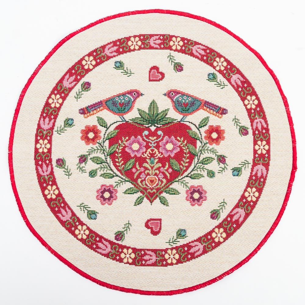 Салфетка-подкладка гобеленовая круглая цветы цветочный узор птицы сердце Ø30 см