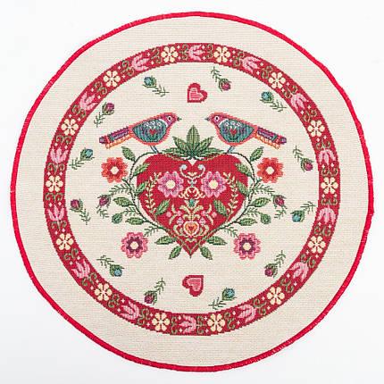 Салфетка-подкладка гобеленовая круглая цветы цветочный узор птицы сердце Ø30 см, фото 2