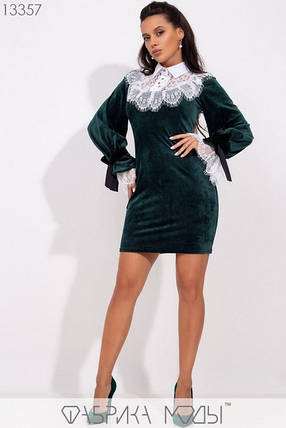 Нарядное короткое  молодёжное платье из бархата украшенное французким кружевом M-L, S-M  размер, фото 2