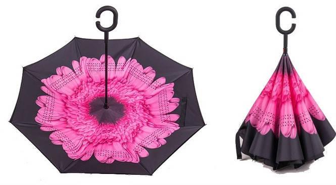 Ветрозащитный зонт обратного сложения Up-Brella «Розовая астра» (1024943906), фото 2