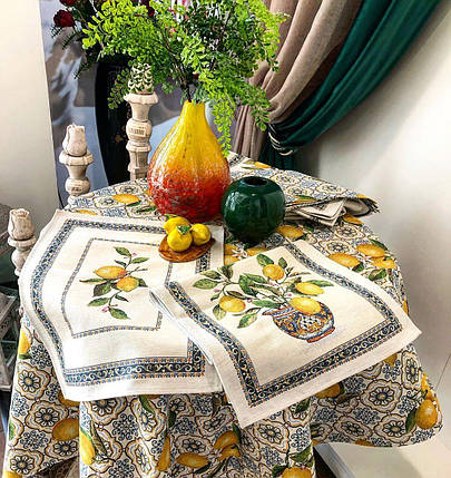 Салфетка под тарелку тканевая гобеленовая лимоны 37 х 49 см салфетки под тарелки, фото 2