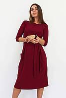 S, M, L / Класичне жіноче плаття-міді Tirend, марсала L (46-48)