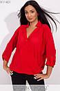 Женская свободная блуза на запах в больших размерах 1blr185, фото 6