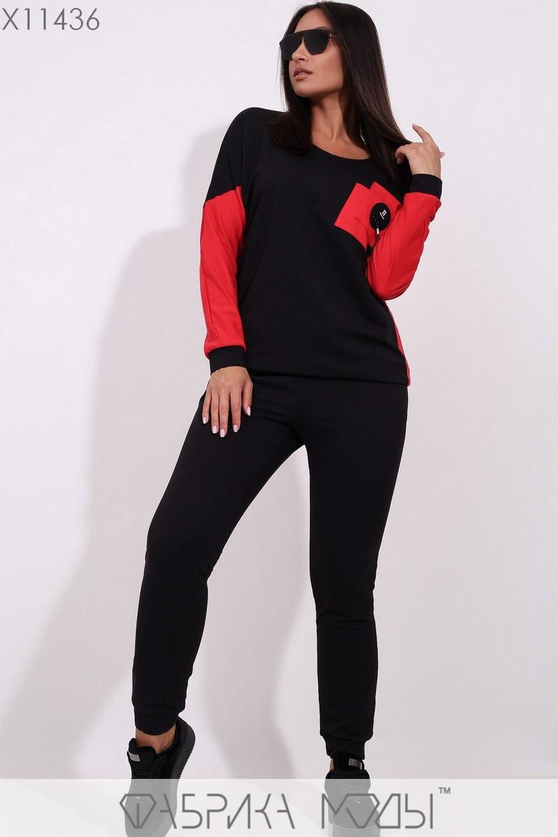 Спортивный женский костюм в больших размерах с зауженными штанами 1blr194