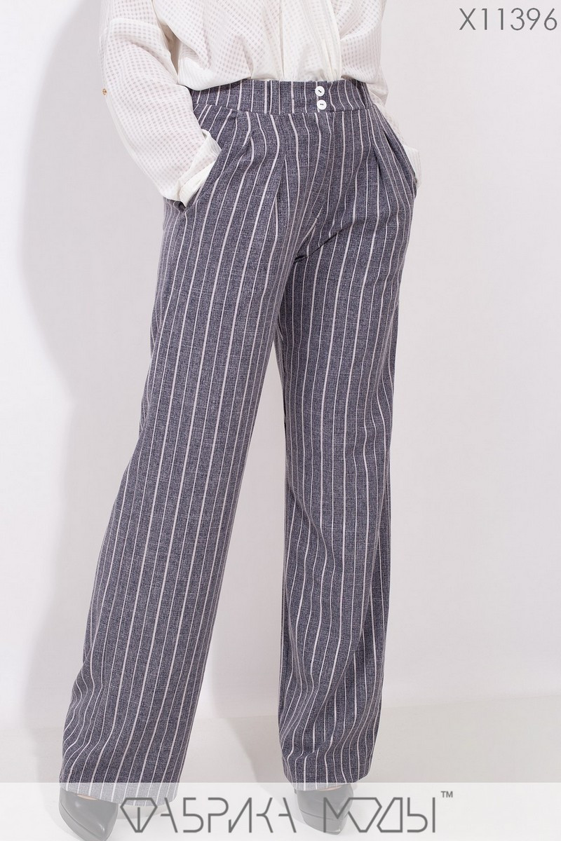 Женские брюки клеш в больших размерах в полоску 1blr195