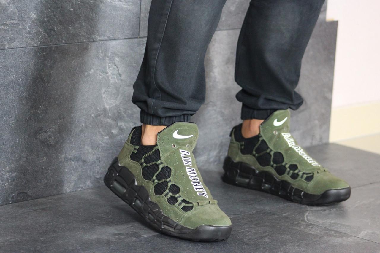 Кроссовки мужские Nike Air More Money,нубук,темно зеленые