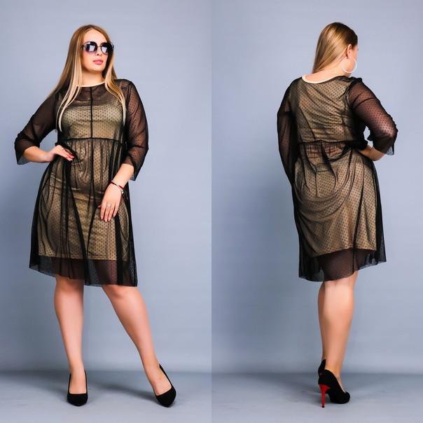 Платье с сеткой сверху размеров батал tez3815983