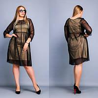 Платье с сеткой сверху размеров батал tez3815983, фото 1