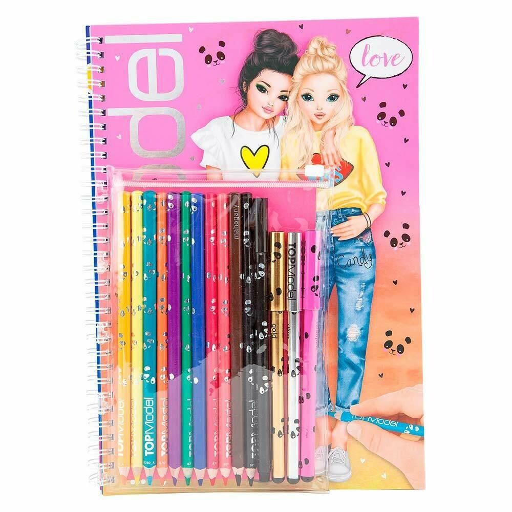 Top Model розмальовка з олівцями та файнлайнерами ( Топ Модель раскраска с канцелярией )