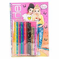 Top-Model Набір для творчості Top Model Книга розмальовка з олівцями та файнлайнерами