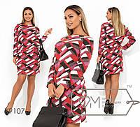 Ангоровое платье батального размера с принтом и резинкой на талии tezxl9107