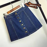 Джинсовая женская юбка Coardiarn трапеция на пуговицах темно синяя L, фото 1