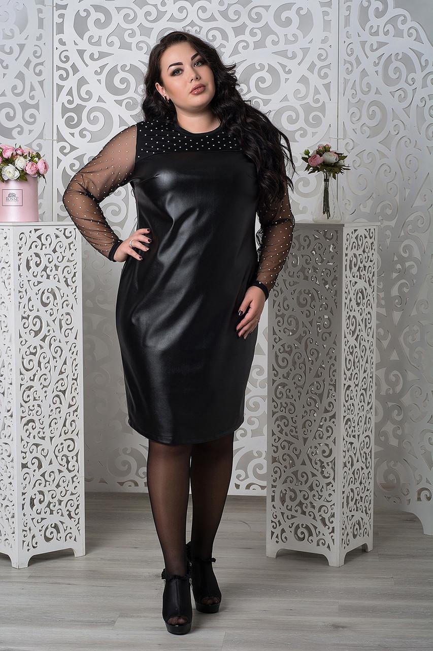 Кожаное платье размеров батал с рукавами из сетки tez10151167