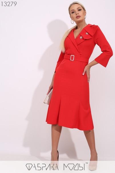 Модное молодёжное платье-миди с широким отложным воротником S, M, L  размер