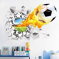 3D интерьерные виниловые наклейки на стены Огненный  Мяч Футбольный 70-50 см в детскую . Декор, Обои