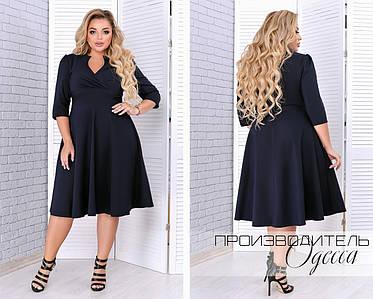 Модное молодёжное платье с V-образным вырезом и пышной юбкой  батал 48-62 размер, фото 2