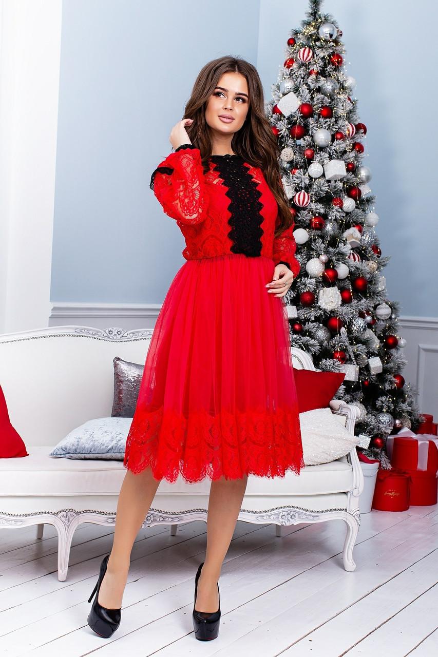 Платье с сеткой и гипюром размеров батал tez38151212