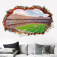 3D интерьерные виниловые наклейки на стены Футбольное Поле - Стадион 90-60 см в детскую . Декор, Обои
