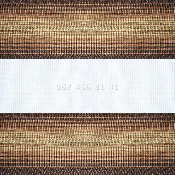 Тканевые ролеты Besta Uni с П-образными направляющими День-Ночь BH Brown 604