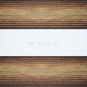 Тканевые ролеты Besta Uni с П-образными направляющими День-Ночь BH Brown 604, фото 2