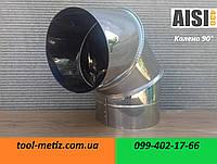 Угол 90° для дымохода D-110 мм. толщина: 0.5 мм. из нержавеющей стали марки AISI 430
