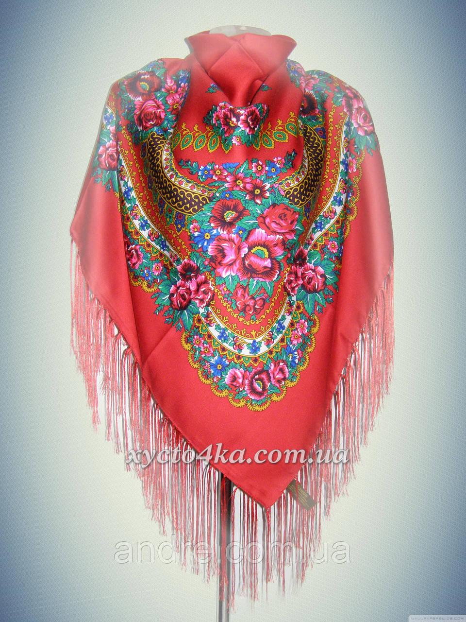 Шерстяной платок в народном стиле, красный