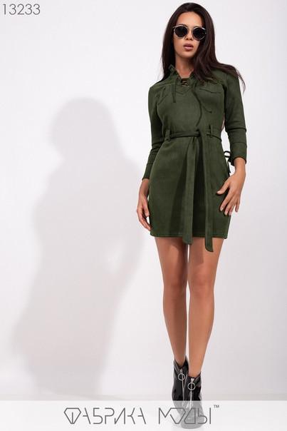 Стильное молодёжное мини-платье из замши, со шнуровкой и накладными карманами  S, M, L  размер