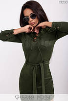 Стильное молодёжное мини-платье из замши, со шнуровкой и накладными карманами  S, M, L  размер, фото 3