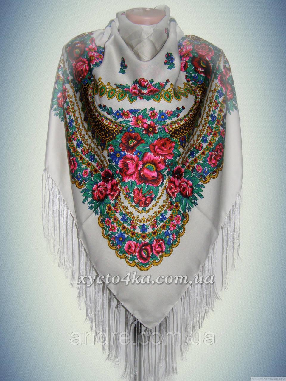 Шерстяной платок в народном стиле, молочный