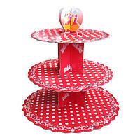 SALE! Стенд трёхъярусный картонный круглый для капкейков красного цвета с горошком (шт)