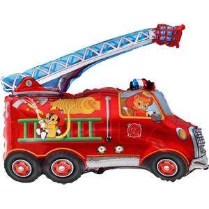 Фольгированный шар Пожарная машина 71см х 80см Красный