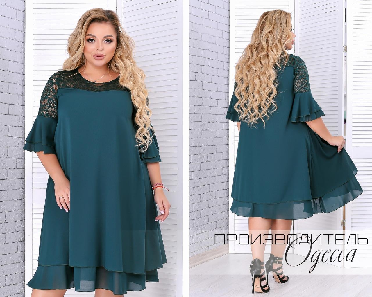 Нарядное женское платье из шифона украшенное гипюром свободного кроя   батал 50-64 размер