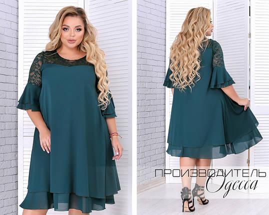 Нарядное женское платье из шифона украшенное гипюром свободного кроя   батал 50-64 размер, фото 2