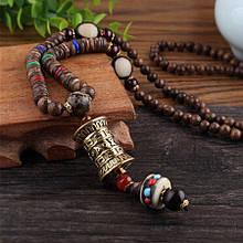 Тибетські дерев'яні намиста з молитовним барабаном