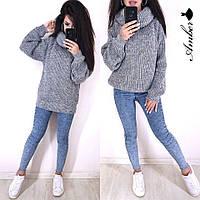 Женский вязаный свитер с широкими рукавами и большим воротником 8dmde549