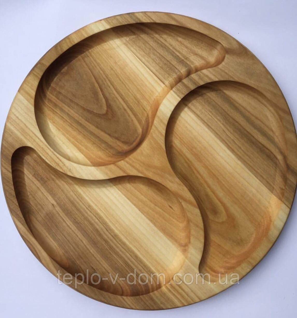 Деревянная круглая менажница на 3 деления D25см