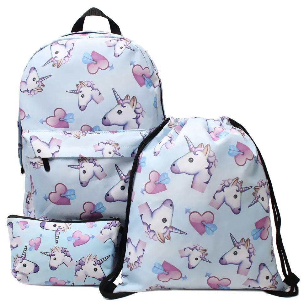 Школьный рюкзакс сумкой и пеналом с Единорогами голубой