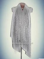 Нарядный шарф на шёлковой основе Афродита, белый