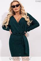 Стильное тёплое платье-мини с глубоким декольте, имитацией запаха S, M, L размер, фото 2