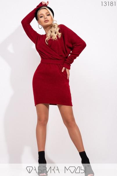 Стильное тёплое платье-мини с глубоким декольте, имитацией запаха S, M, L размер