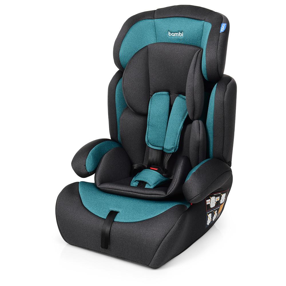 Автокресло детское, Bambi M 3546 Emerald Gray, автокресло и бустер 2 в 1, вес ребенка 9-36 кг (группа 1-2-3)