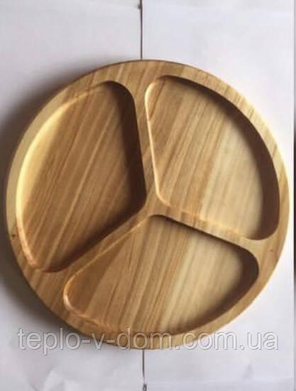 Деревянная круглая менажница на 3 деления D35см