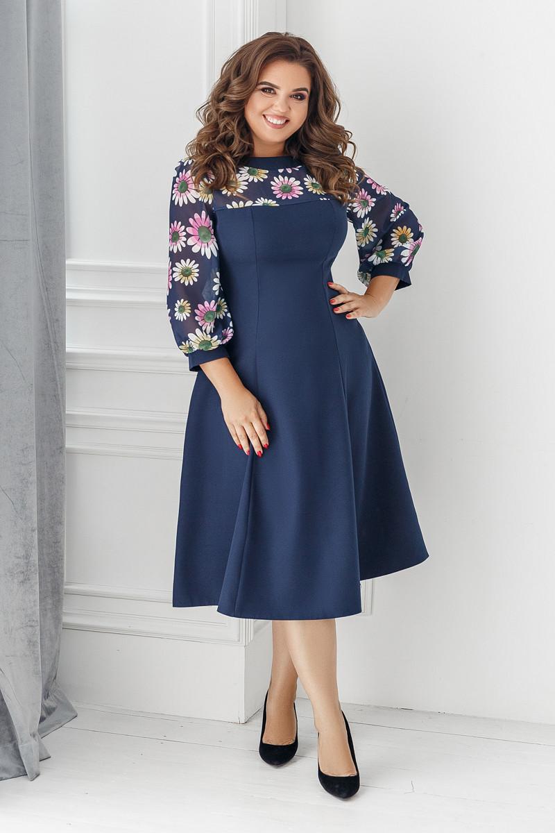 Платье, №137, синее, 48-58р.