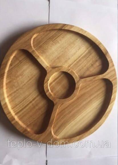 Деревянная круглая менажница на 3 деления + соусница D35см