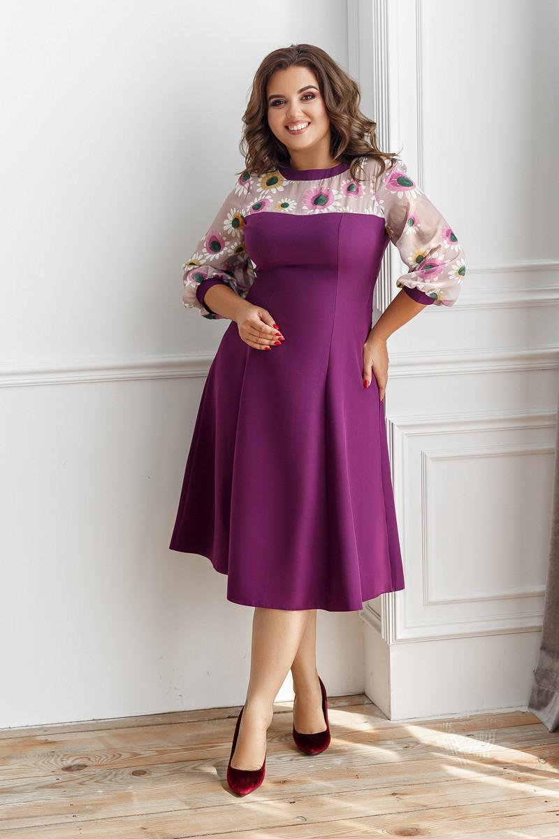 Платье, №137, фиолетовое, 48-58р.