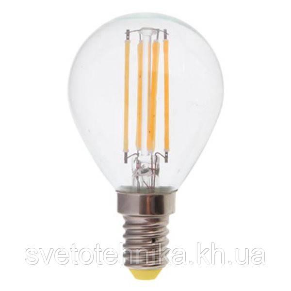 """Светодиодная лампа Feron LB61 E14 4W 2700K типа G45 """"шар"""" прозрачная для  декоративного освещения"""