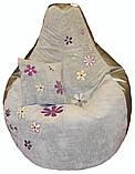 Крісло мішок пуф з вишивкою, Велюр розмір L 95*115см, фото 2