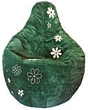 Крісло мішок пуф з вишивкою, Велюр розмір L 95*115см, фото 5