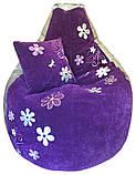 Крісло мішок пуф з вишивкою, Велюр розмір L 95*115см, фото 10